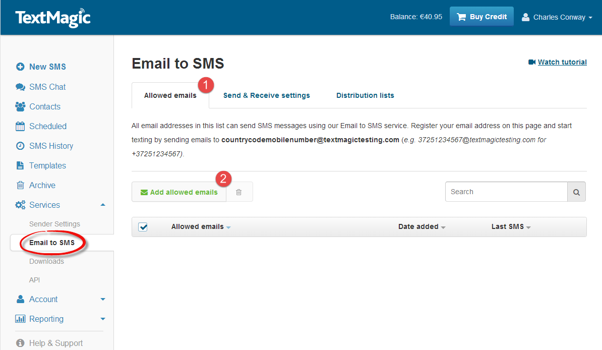 Email to SMS Settings