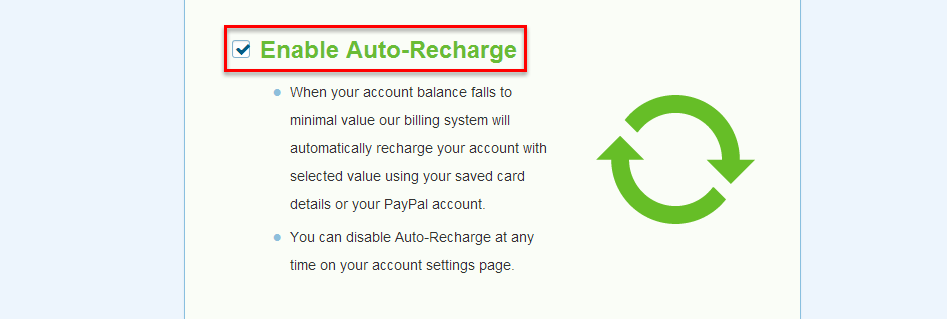 Enable auto recharge