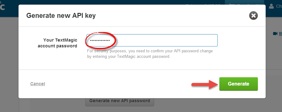 Generate new API key