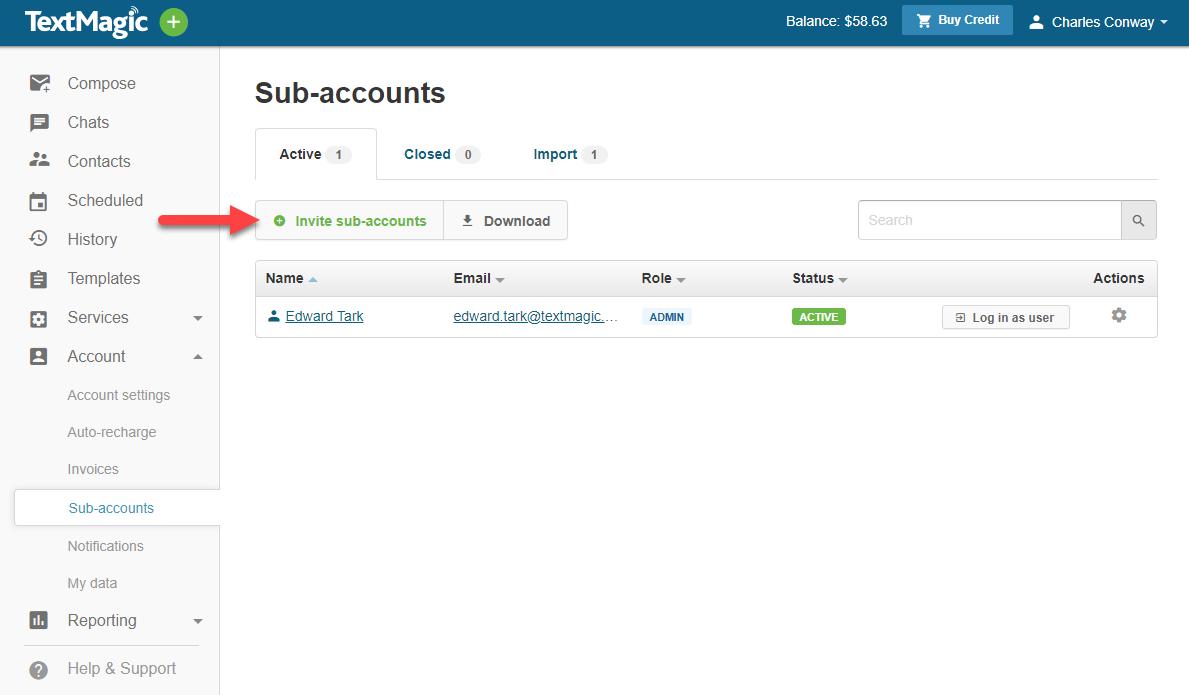 Invite a new sub account