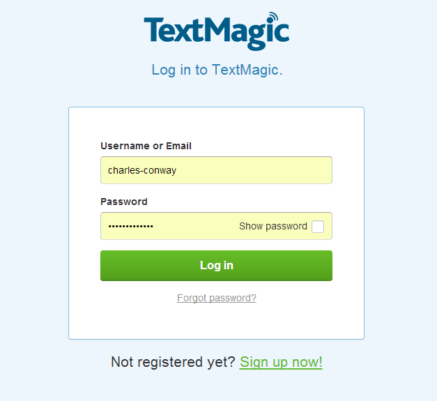 Log in to TextMagic