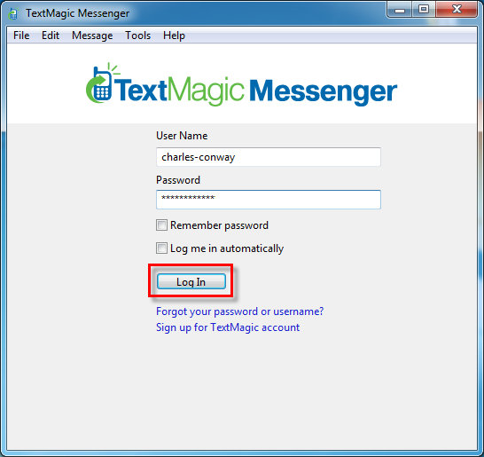 Log in to Textmagic Messenger