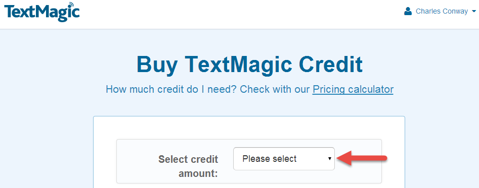 Select credit amount
