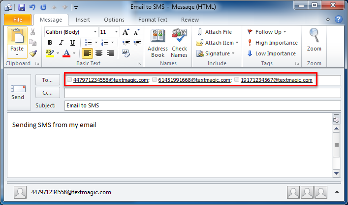 Sending SMS via Outlook