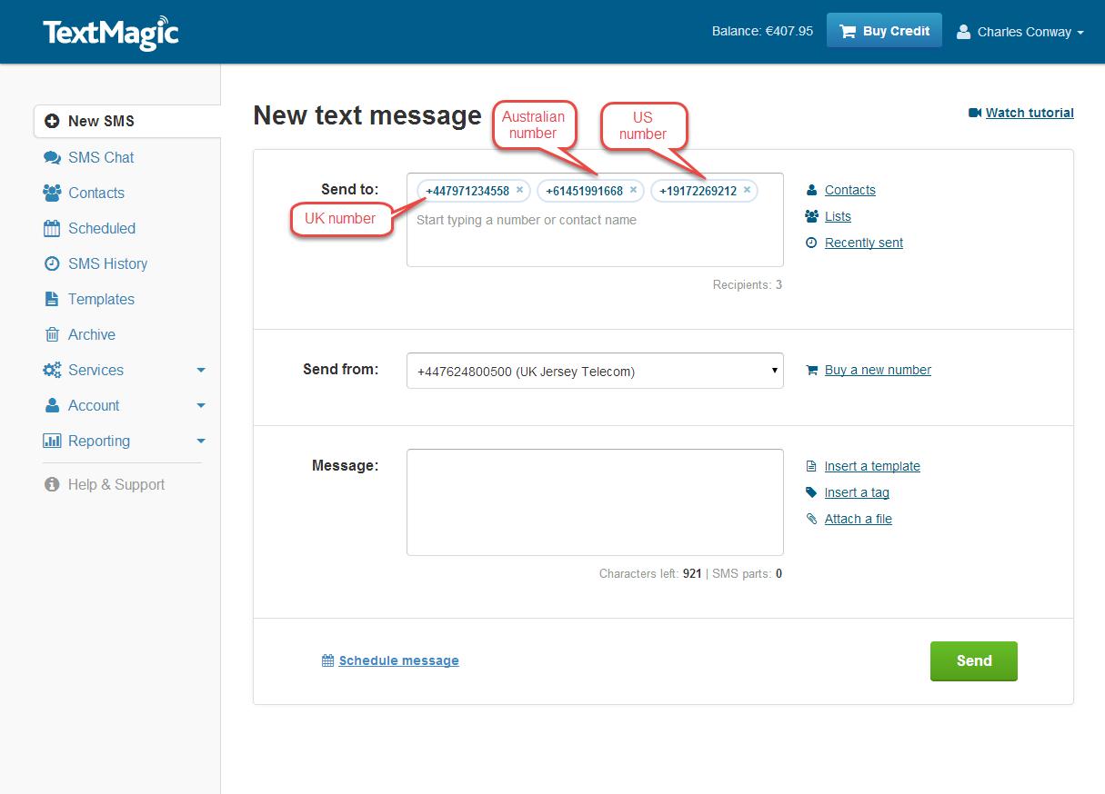 Sending SMS via  Web-App