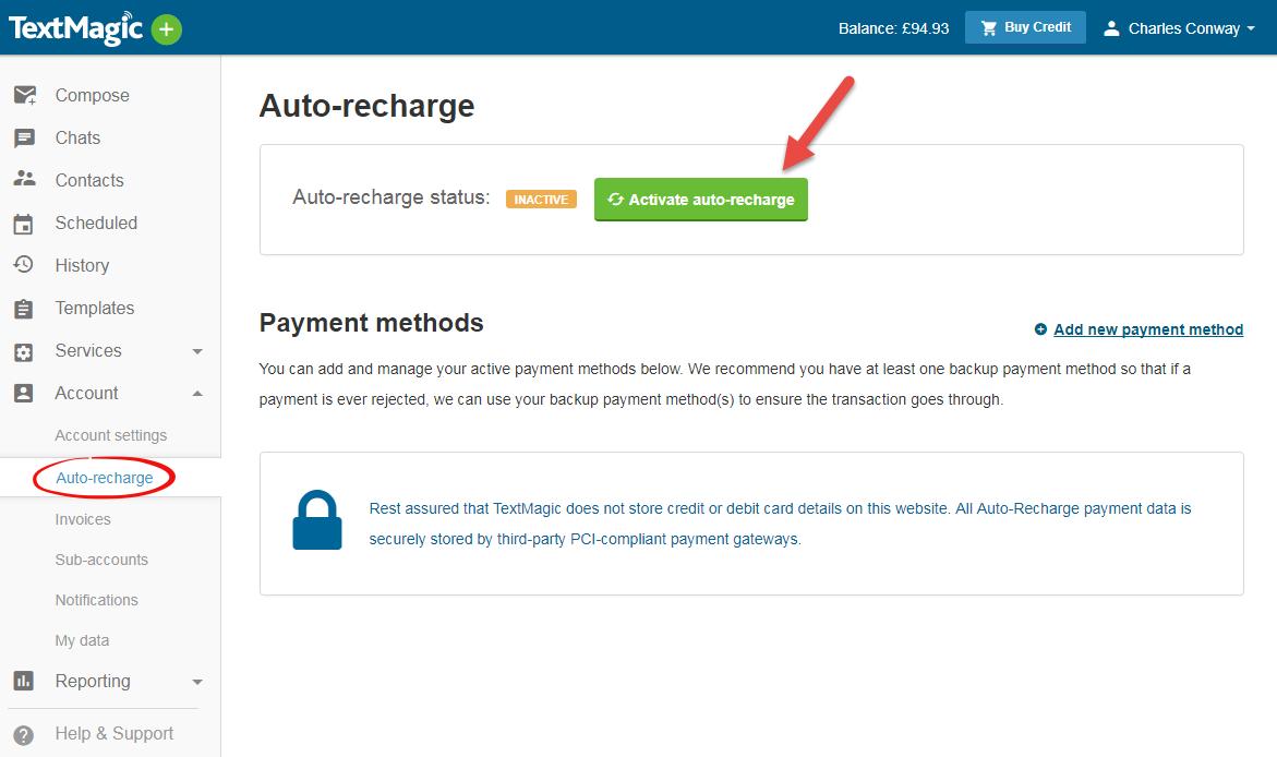 TextMagic activate auto-recharge