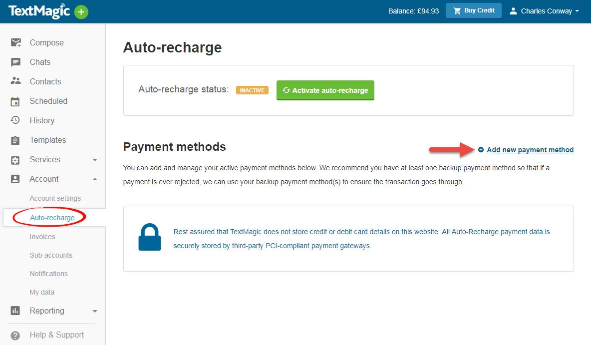 TextMagic add a new credit card