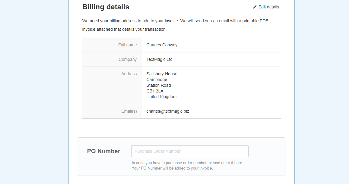TextMagic billing details and purchase order number