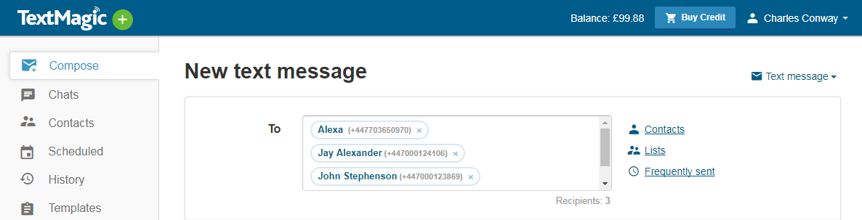 TextMagic enter recipients