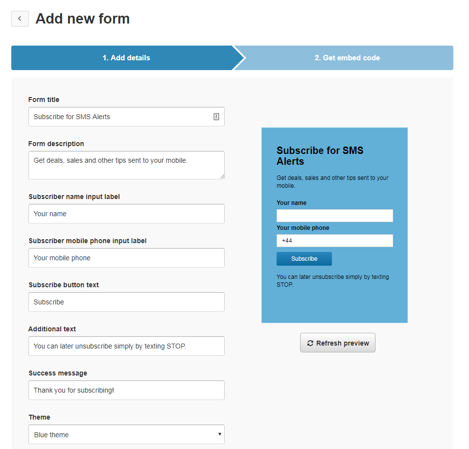 TextMagic check form details