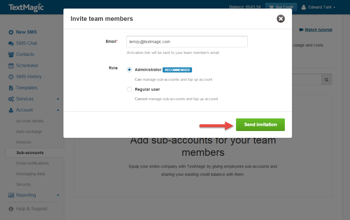 Invite user