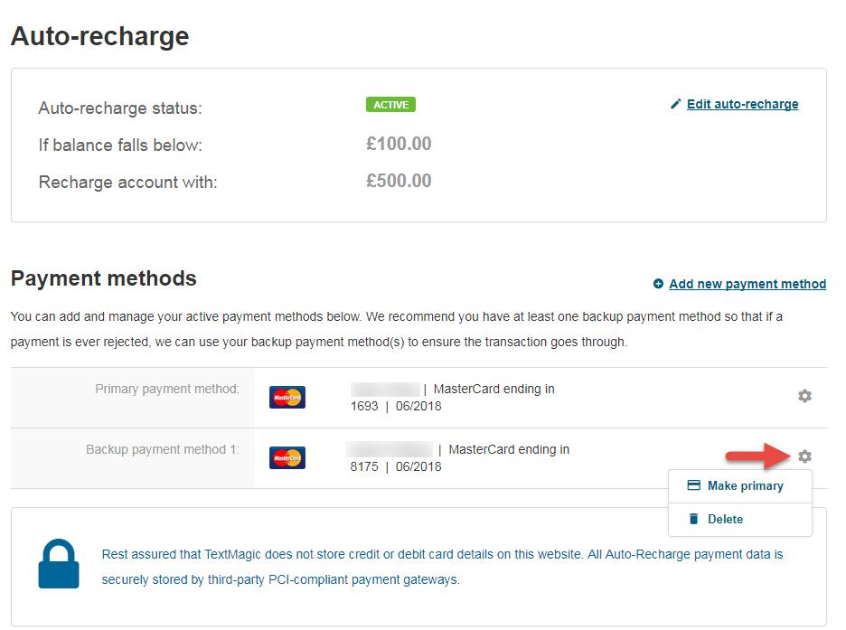 TextMagic manage payment methods