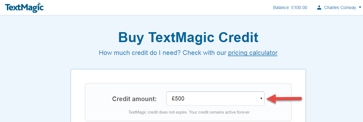 TextMagic choose credit package