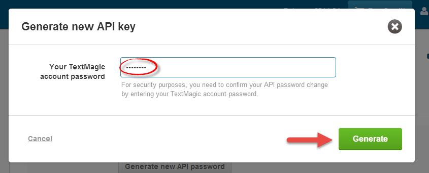 TextMagic account password
