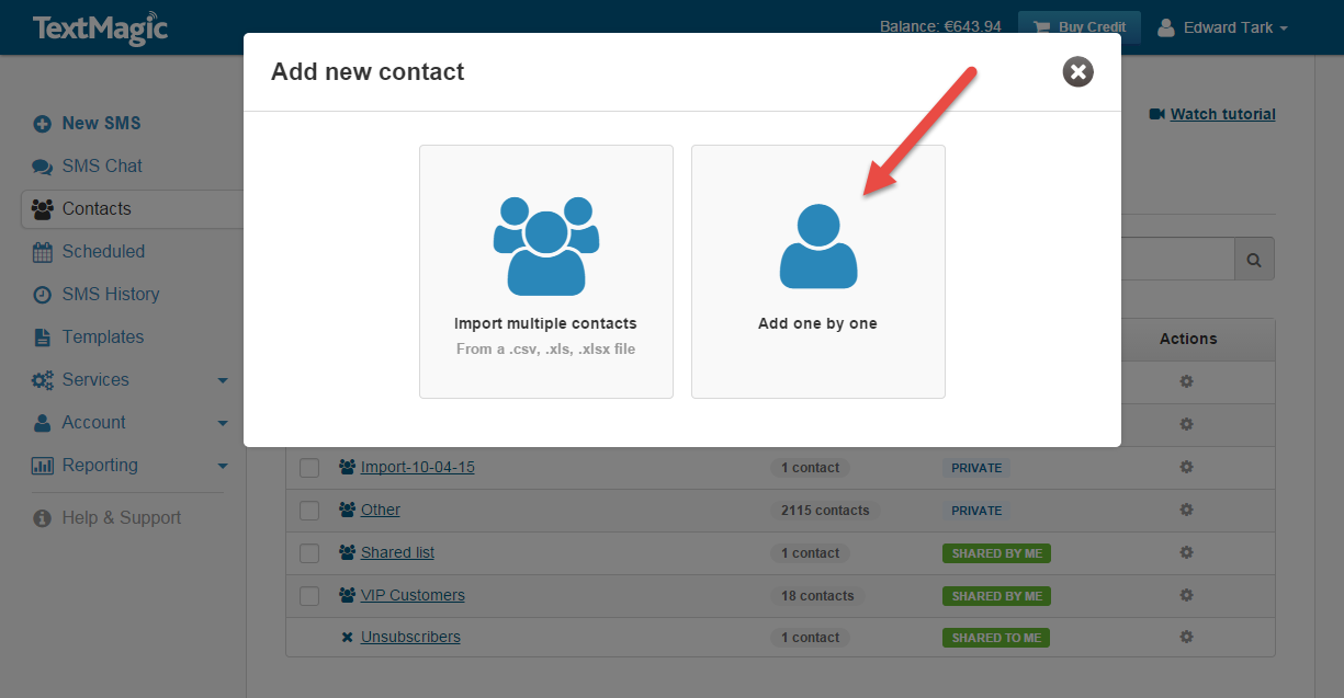 Add contacts one by one