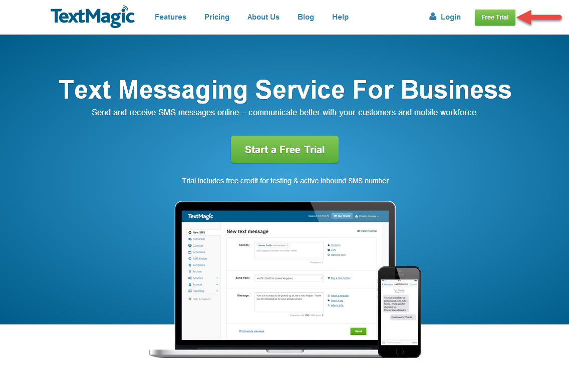 TextMagic home page