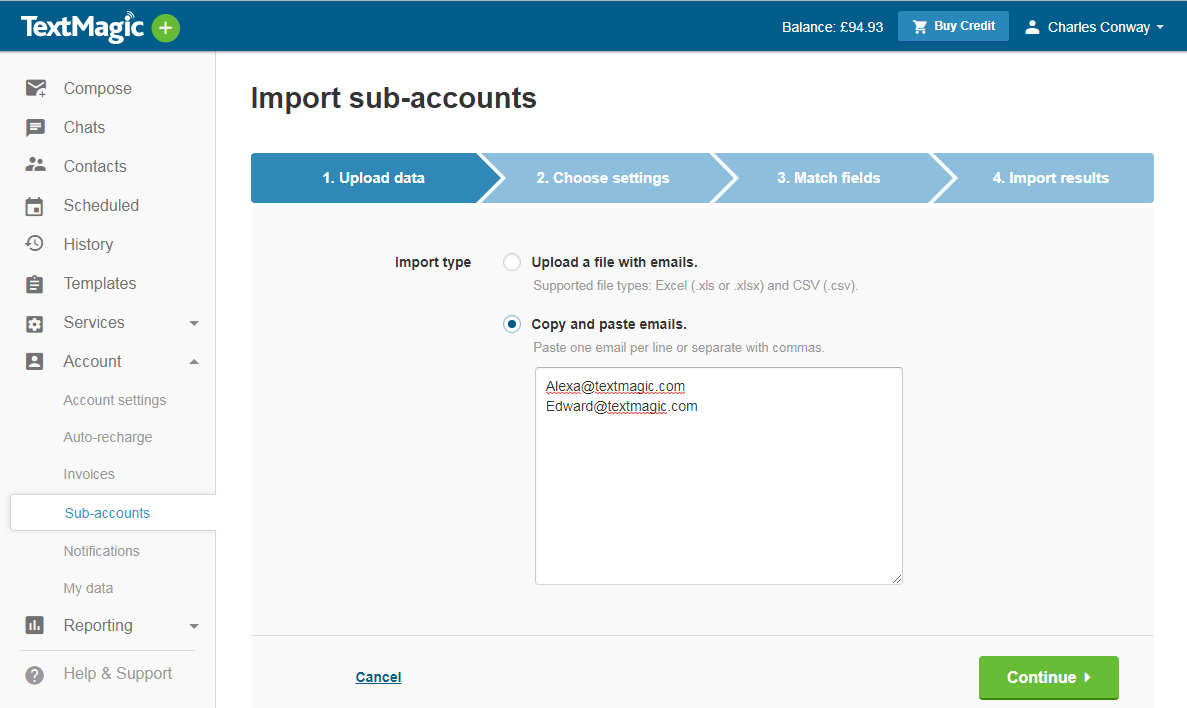 TextMagic import sub accounts