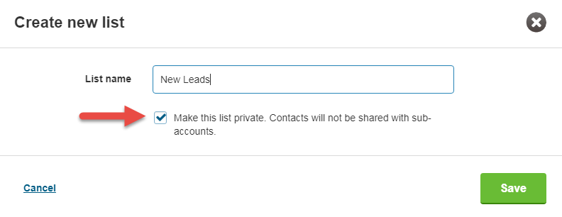 TextMagic create a private or shared list