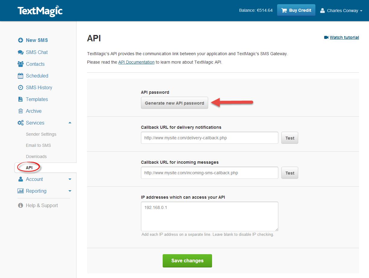 generate API password