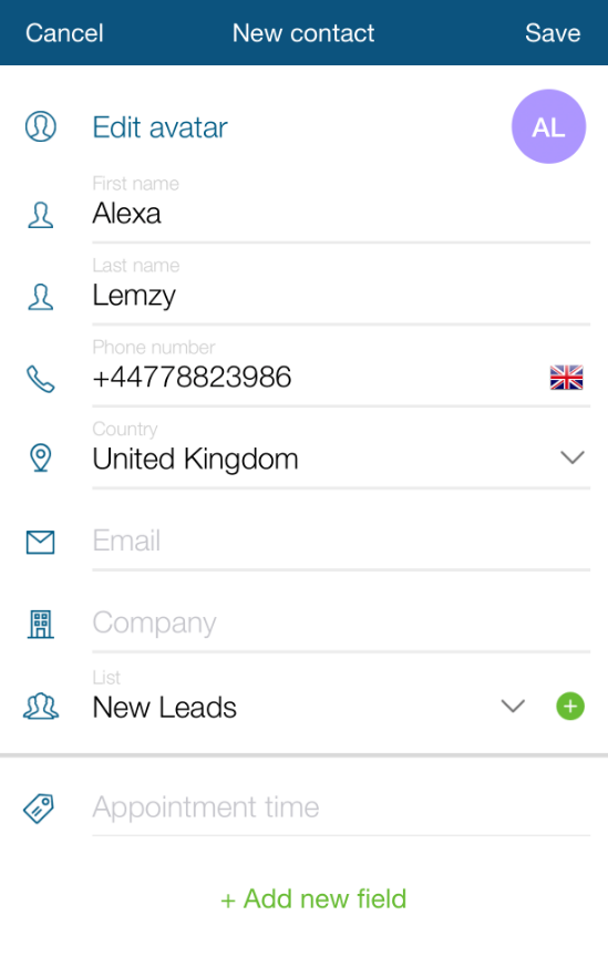 TextMagic add contacts one by one