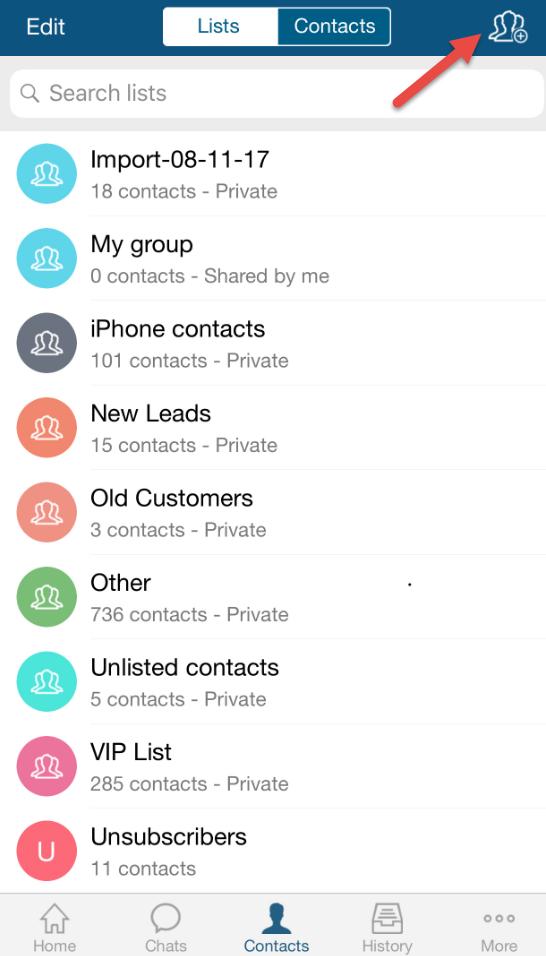 TextMagic add new list