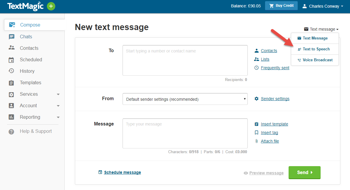 TextMagic send text to speech messages from the web-app