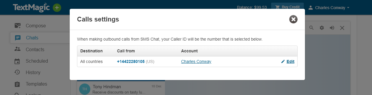 SMS Chat choose caller id