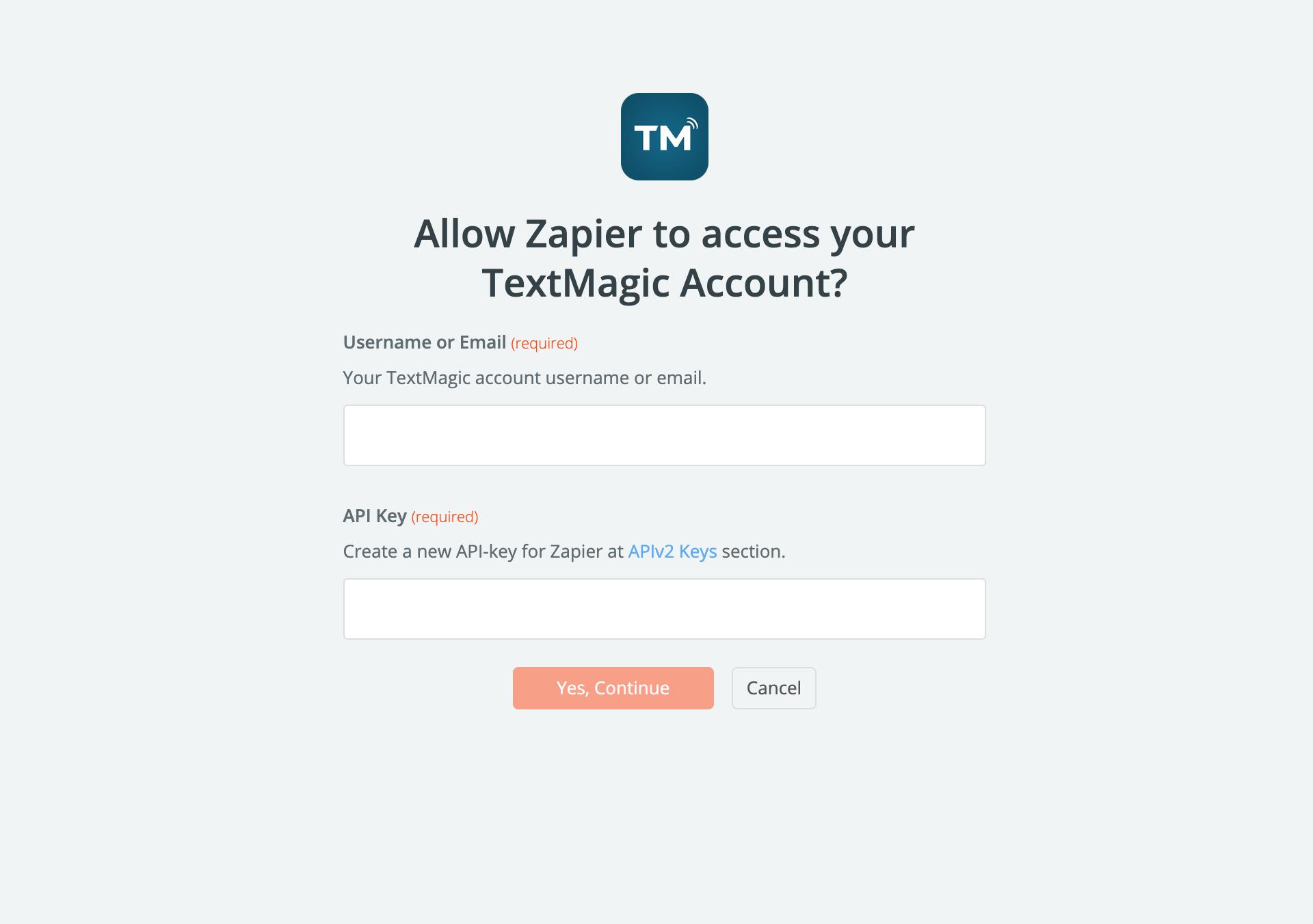 enter username and api key