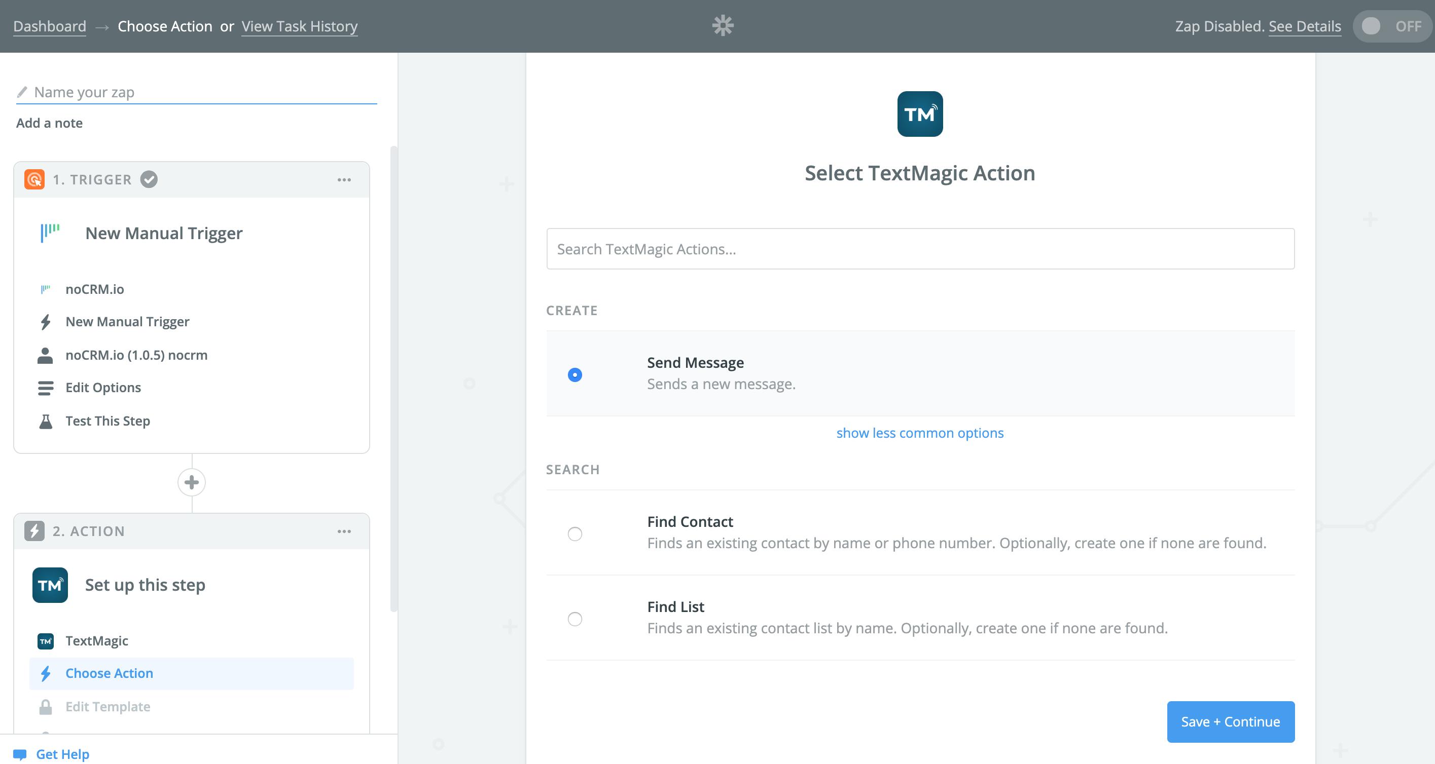 textmagic send message action