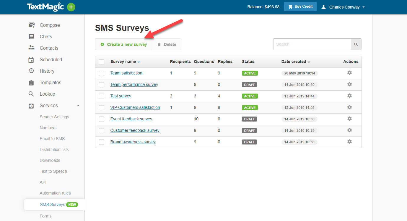 Create a new SMS Survey