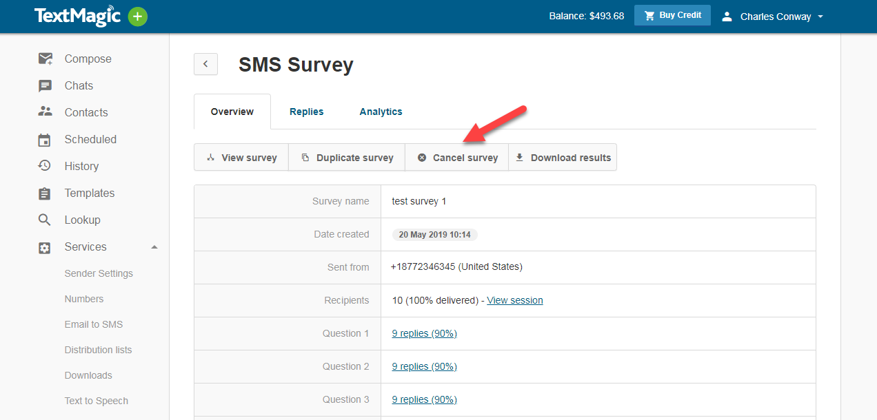 Cancel SMS Survey