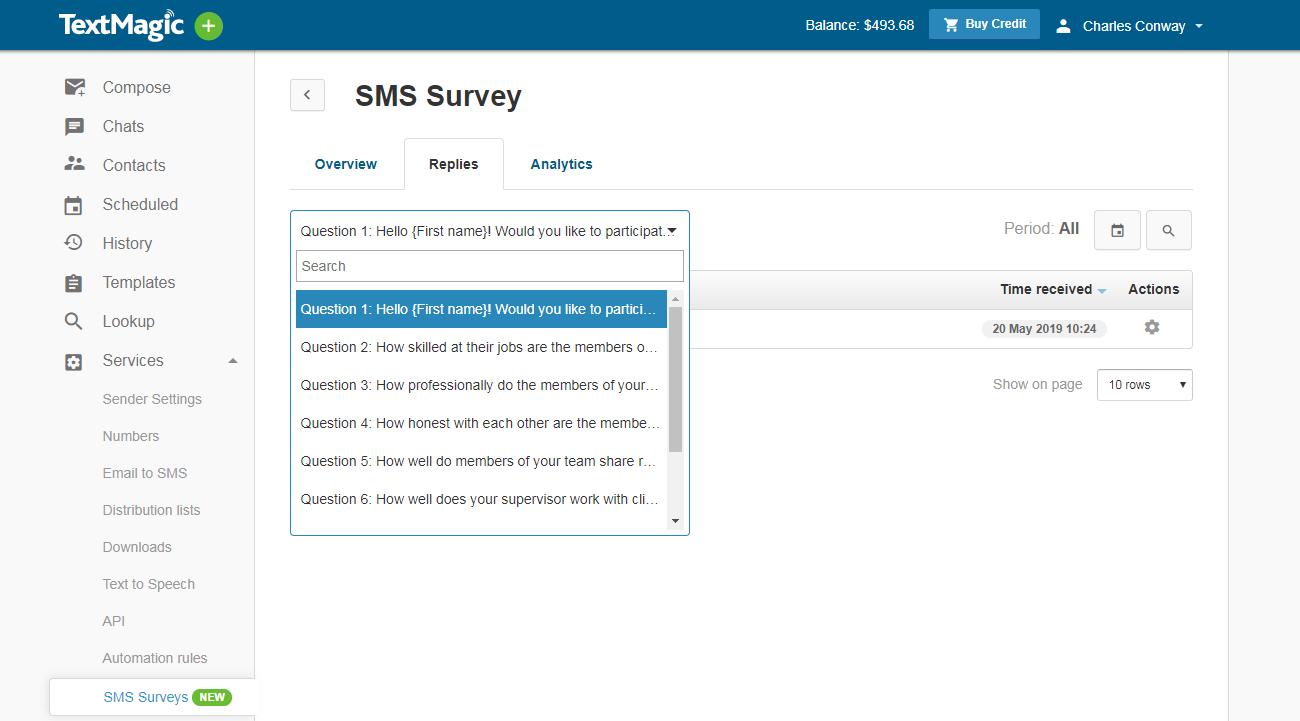 choose sms survey question
